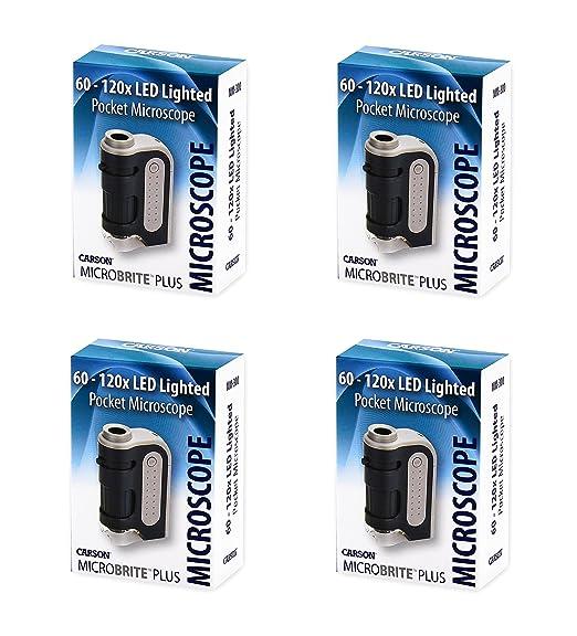 Extrem Leistungsstarkes Taschenmikroskop Carson 60 120x Microbrite Plus Mit Led Beleuchtung Im Viererpack Gewerbe Industrie Wissenschaft