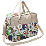 MG Collection Fashion Beige Jungle Animals Top Handle Travel Baby Bag / Diaper Tote Bag w/ Changing Pad