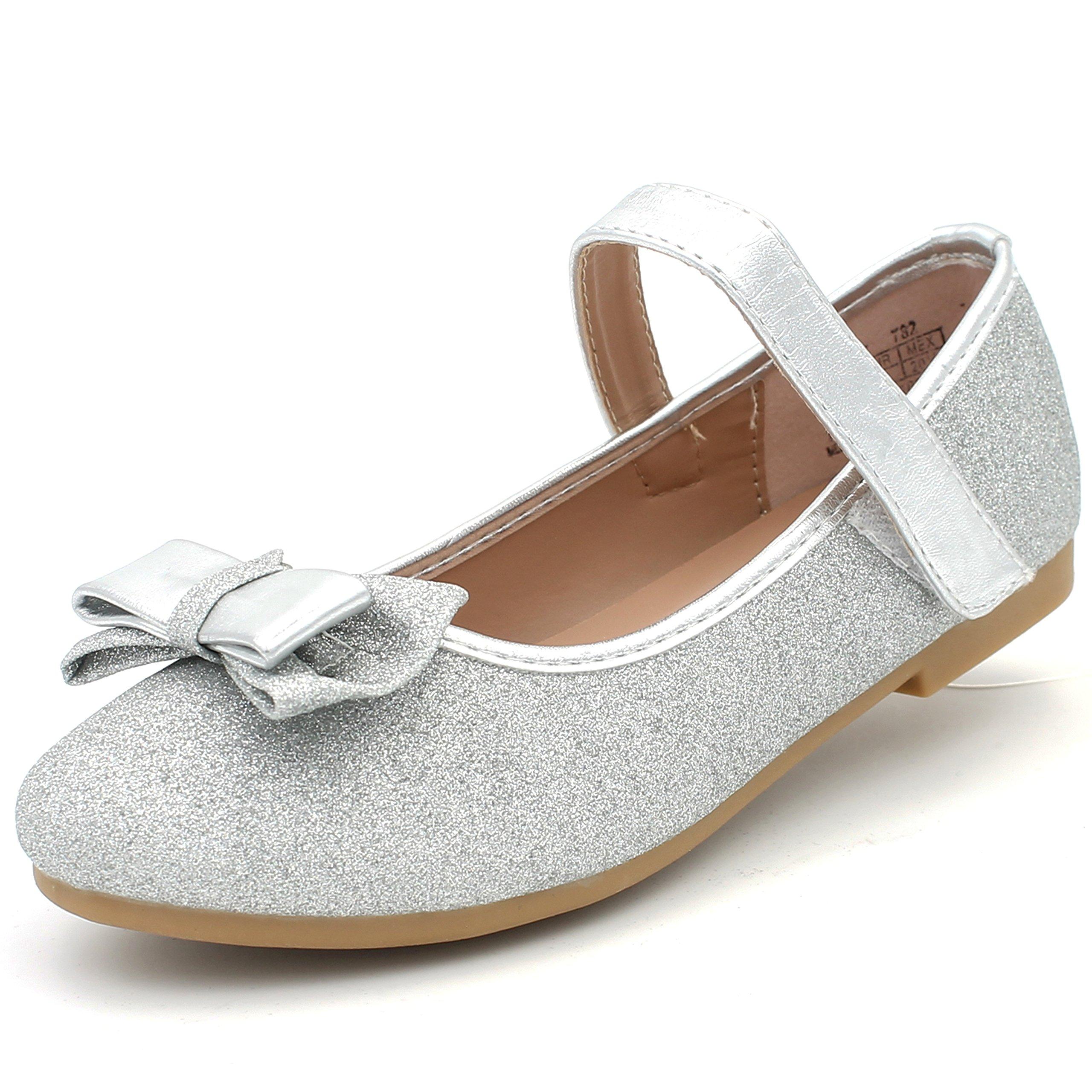 CAKI-DREAM SEEK Girl's Classic Glitter Dress Shoes Ballerina Flats Bow Cushion Mary Jane Strap (13 M US Little Kids, Silver)