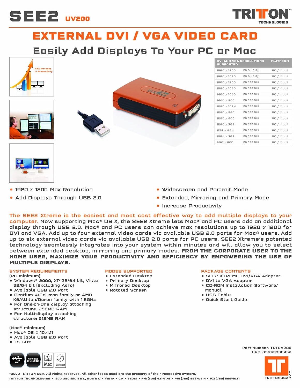 Amazon.com: Tritton SEE2 Xtreme, USB to DVI or VGA External Video Card,  1920x1200 Max Resolution: Electronics
