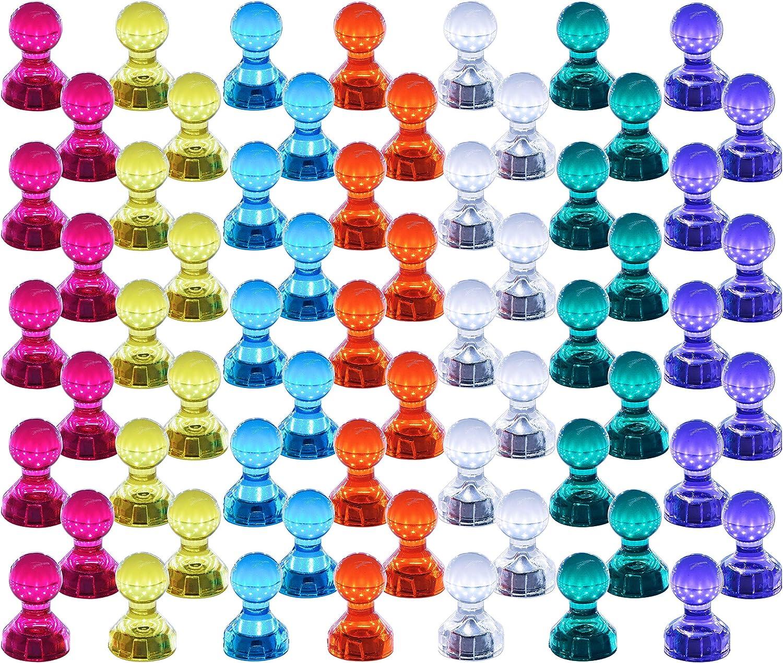 Push Pin Imanes, 60 unidades, color fuerte magnético chinchetas, perfecto imanes para pizarra, nevera, mapa y calendario Magenesis®