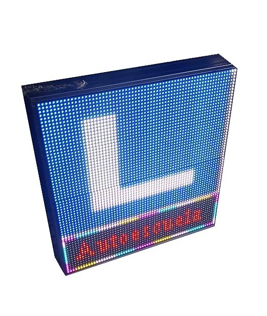 Rótulo LED programable Autoescuelas (32x48 cm) RGB / Pantallas electrónicas de Logo y Texto / Carteles publicitarios Exterior/ Letreros Luminosos / L ...