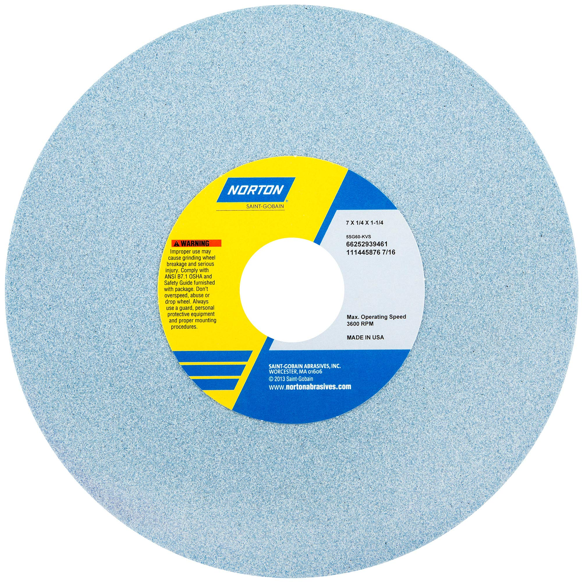 Norton 5SG60-KVS Type 01 Vitrified Straight Toolroom Grinding Wheel, Ceramic Alumina, 7'' Diameter x 1/4'' Width, 1-1/4'' Arbor, 60 Grit, Grade K, Blue (Pack of 1)