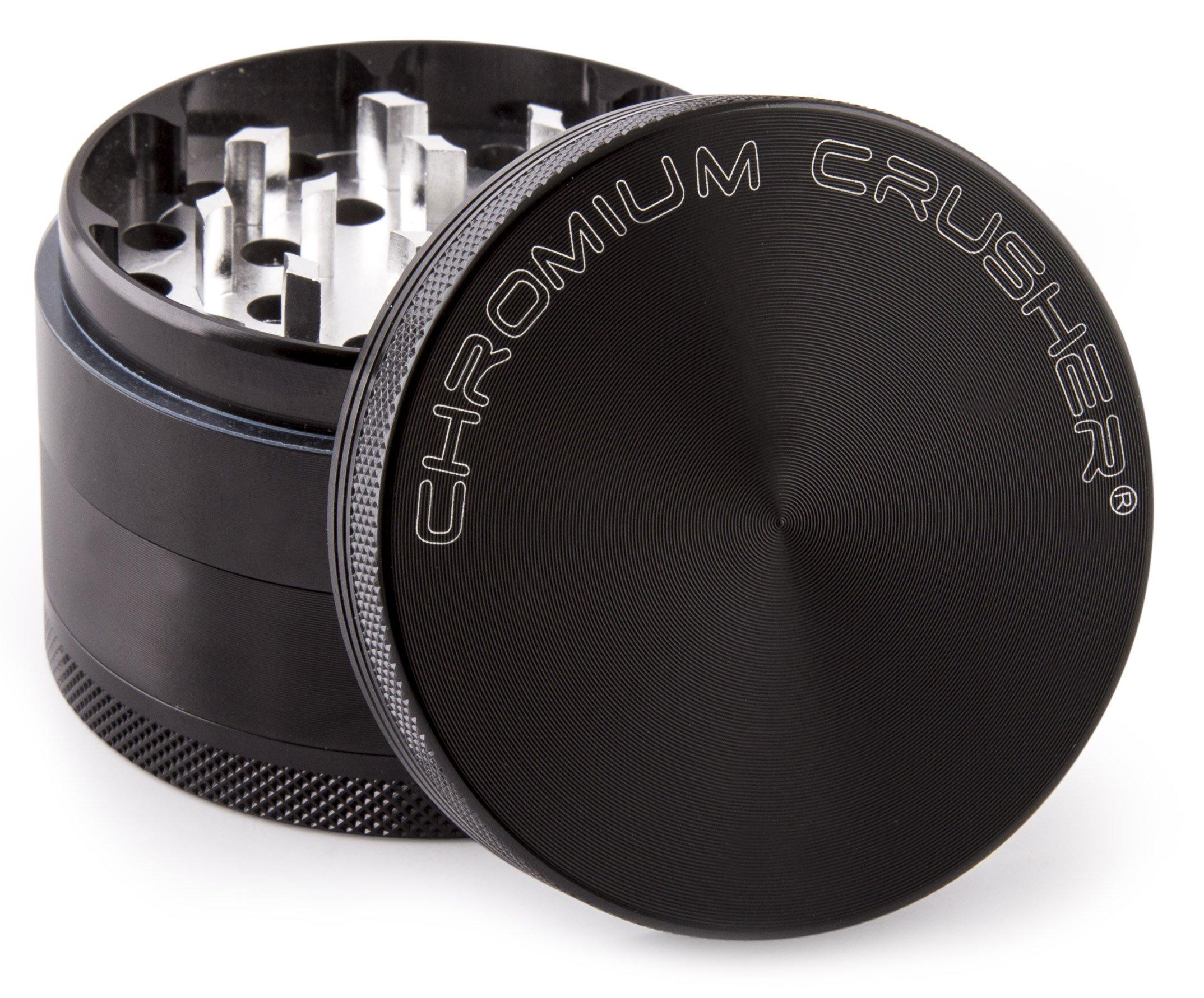 Chromium Crusher 2.5 Inch 4 Piece Tobacco Spice Herb Grinder - Black