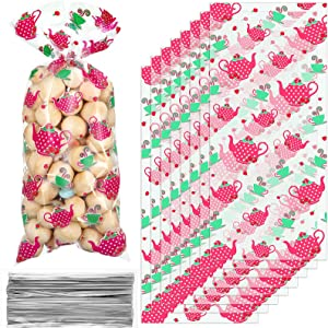 100 Pieces Floral Tea Party Cellophane Bags, Teapot Teacup Plastic Candy Treat Bags Lets Par-Tea Goodie Bags with 100 Silver Twist Ties for Wonderland Baby Shower Birthday Party Supplies