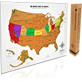 Scratch Off USA Map - with National Parks, Capitals, Peaks and Highways - Scratch off your travel memories in America. Stunning gift for travelers. By Landmass Goods