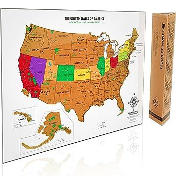 Amazoncom Scratch Off USA Map With National Parks Capitals - Usa map national parks