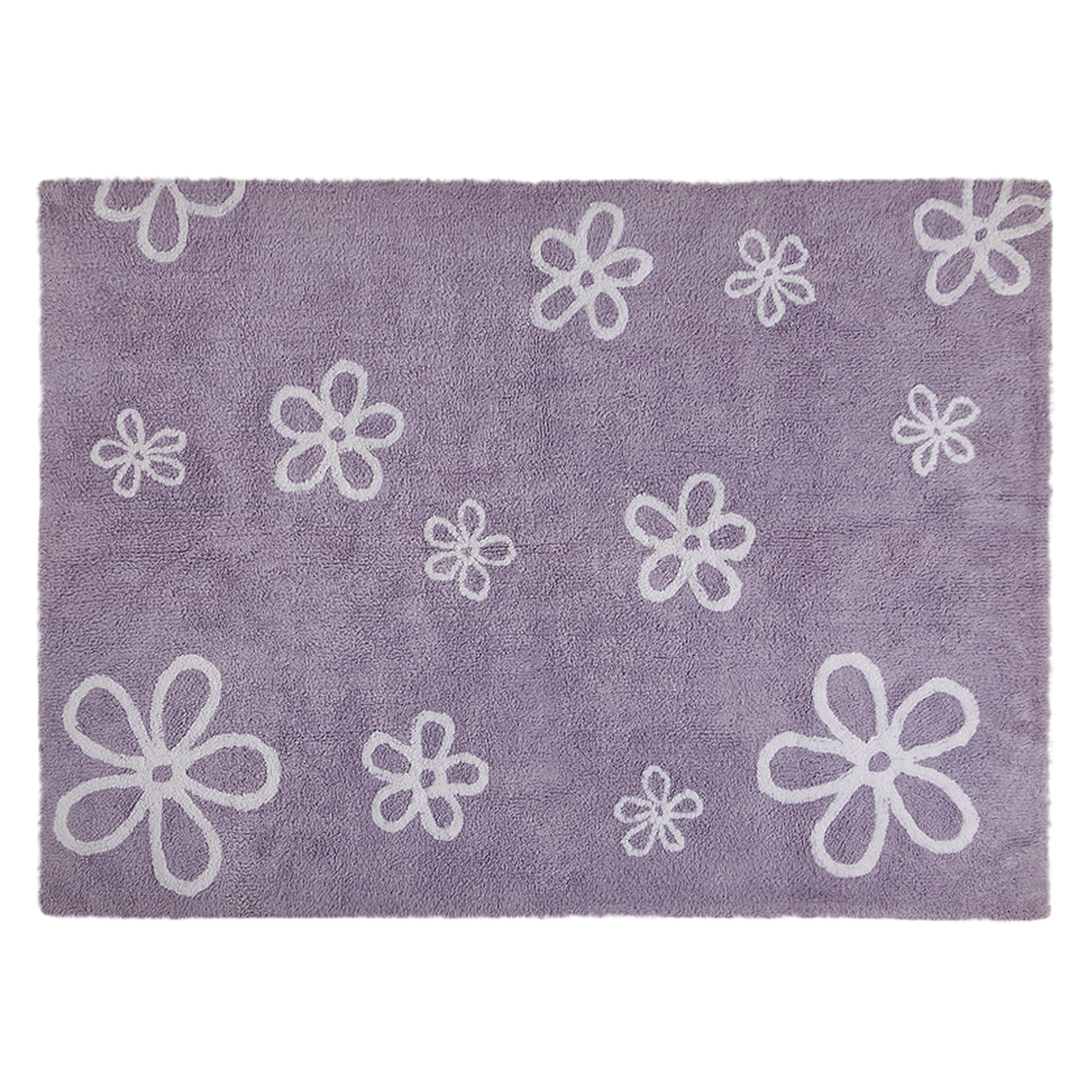 Lorena Canals Purple Flowers Washable Children's Rug - Machine Washable, Perfect for the Nursery - Handmade from 100% Natural Cotton and Non-Toxic Dyes