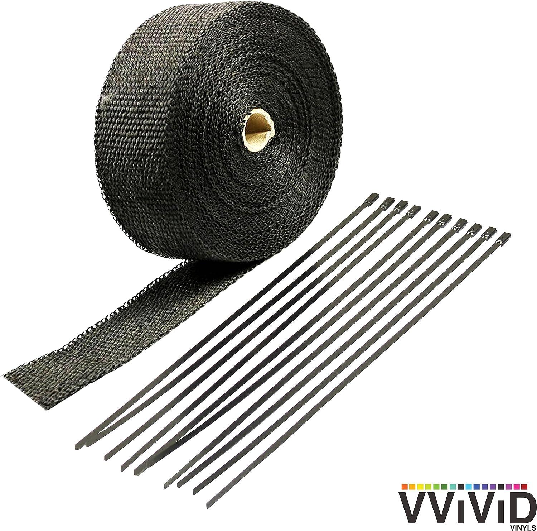 VViViD Black FiberGlass Heat Shield Exhaust Wrap Roll Including 10 Free Stainless Steel Locking Zip Ties (2 Inch x 25ft)