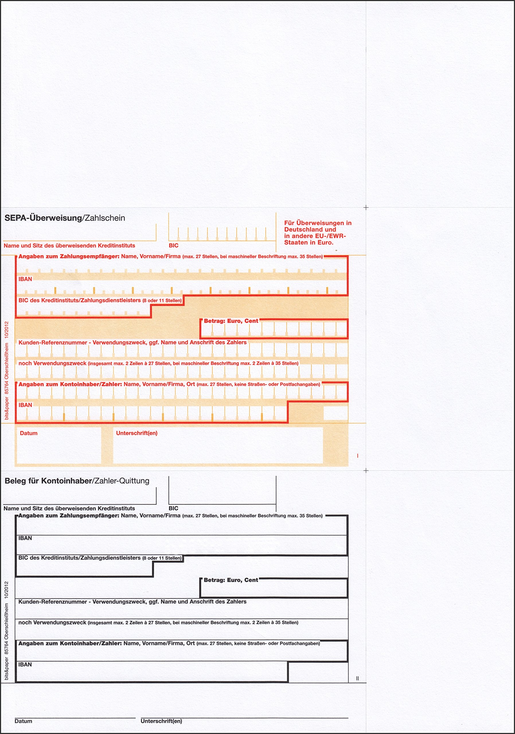 Bits and Paper BP1007 - Sepa-Bank Transfer/Payment Slip with The Receipt