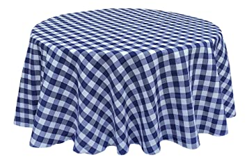 Amazon Com Navy Blue White Tablecloth Gingham Checkered Design 70