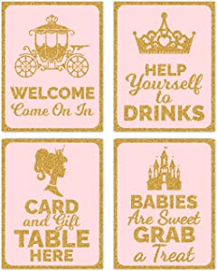 Little Princess Baby Shower Table Decorations Signs - Centerpiece Decor Supplies for Girl Pink and Gold