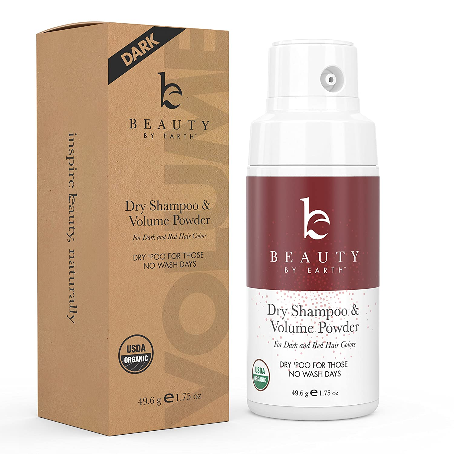 Organic Dry Shampoo Powder; for Instant Unwashed Volume and Style; Best for Brunette, Brown, Dark Red and Black Hair Colours; Clean All Natural Scent Dry 'Poo for Those No Wash Days; 1.75oz Beauty by Earth