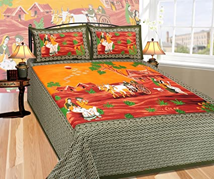 Fresh From Loom 100% Cotton Traditional King Size Green Color Double Bedsheet - 100 X 100 Inch