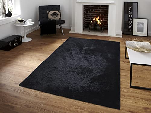 All New Contemporary Solid Colored Silky Touch Shag Rugs by Rug Deal Plus 5 x 7 , Black