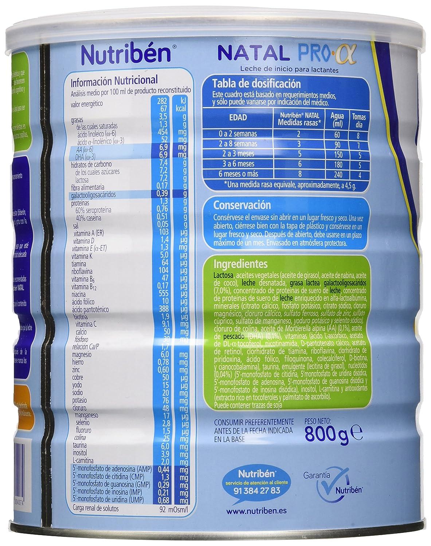 Nutriben Natal Pro-alfa 800 gramos: Amazon.es: Alimentación y bebidas