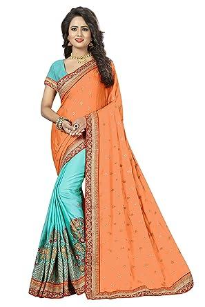 23a425b471513 Indian Orange   Blue Colour Sarees for Women Crepe Silk Fabric with  Unstitch Blouse Piece (