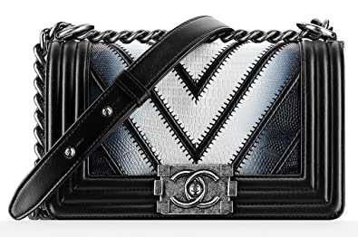 2b063ddbe999 Image Unavailable. Image not available for. Colour: New Chanel Lizard Black  Boy Flap Bag