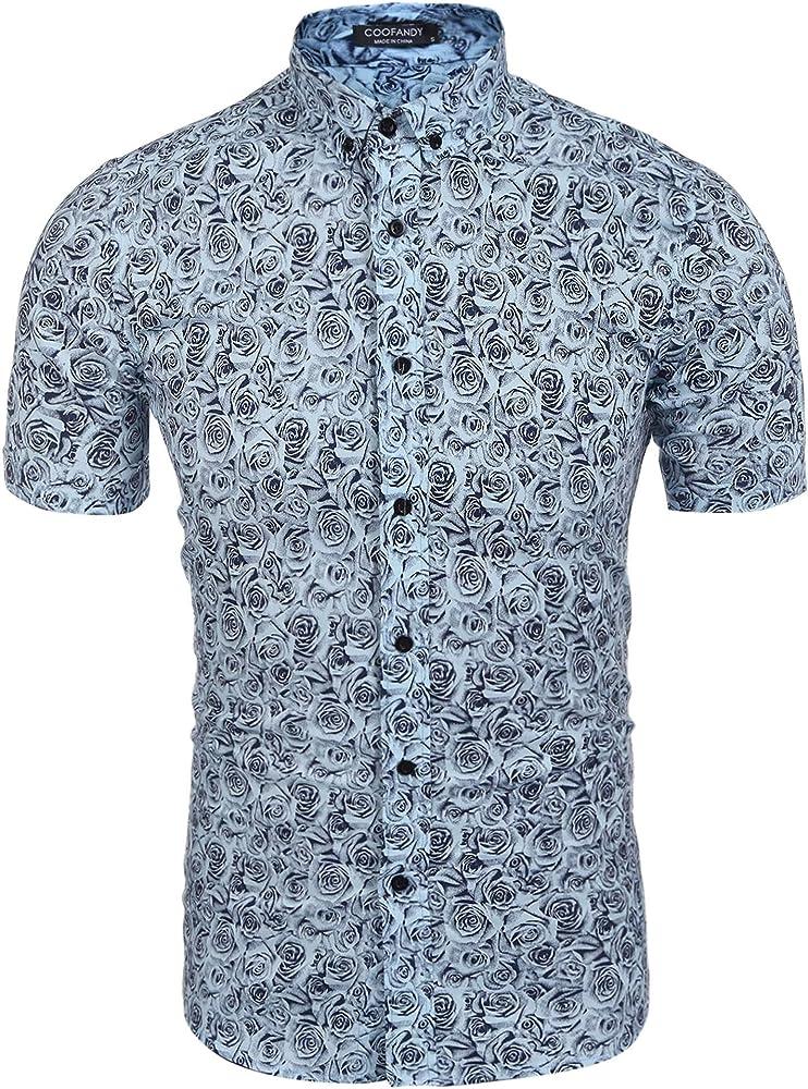 Coofandy Camisa hawaiana de manga corta para hombre con estampado floral: Amazon.es: Ropa y accesorios