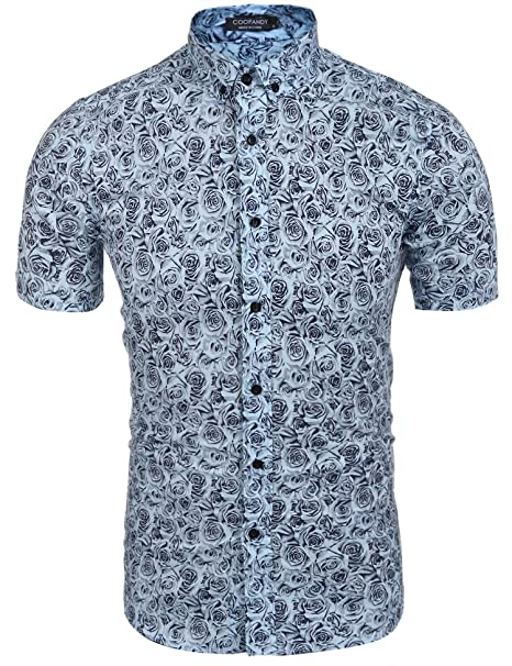 f859bcf702b Coofandy Men Casual Short Sleeve Slim Floral Print Button Down Shirt   Amazon.co.uk  Clothing