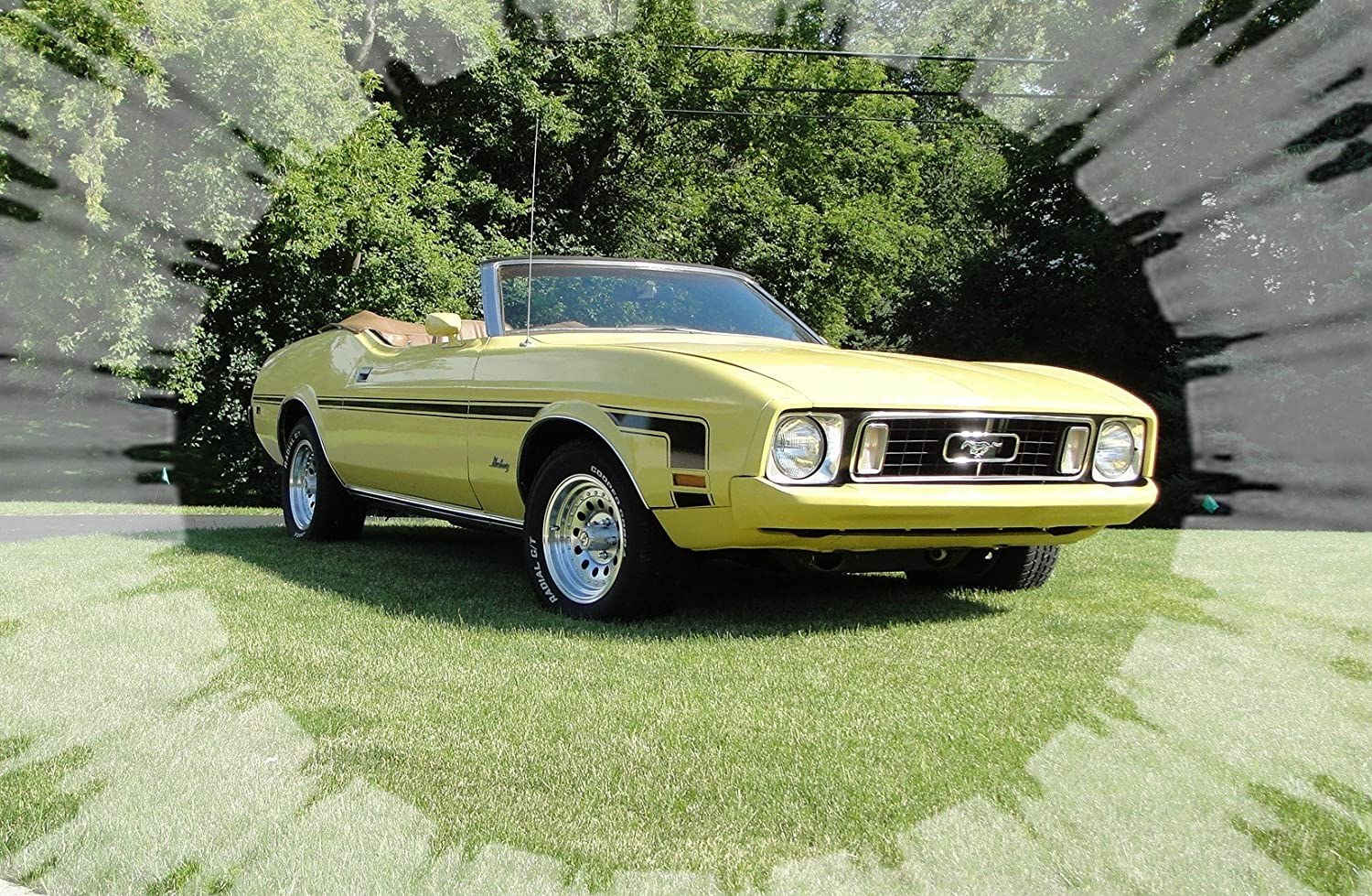 Amazon com 1973 ford mustang convertible yellow picture on mouse
