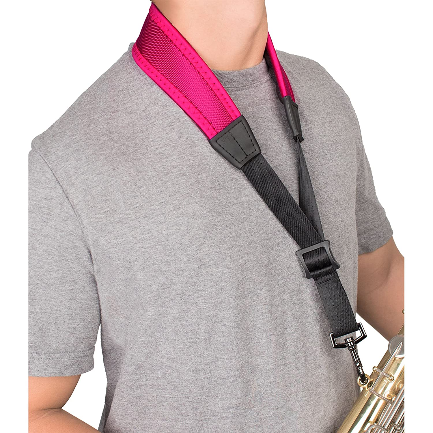 Protec 24-Inch Ballistic Neoprene Less-Stress Saxophone Neck Strap with Coated Metal Hook-Black NLS305M