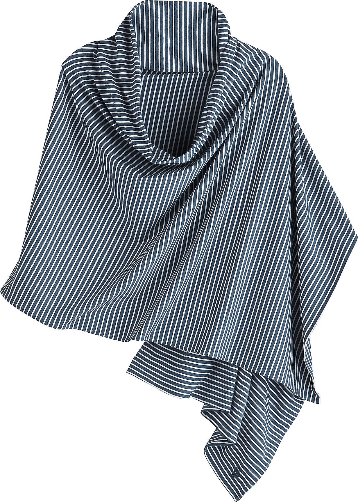 Coolibar UPF 50+ Women's Everyday Beach Shawl - Sun Protective (One Size- Denim Blue Heather/White Stripe)