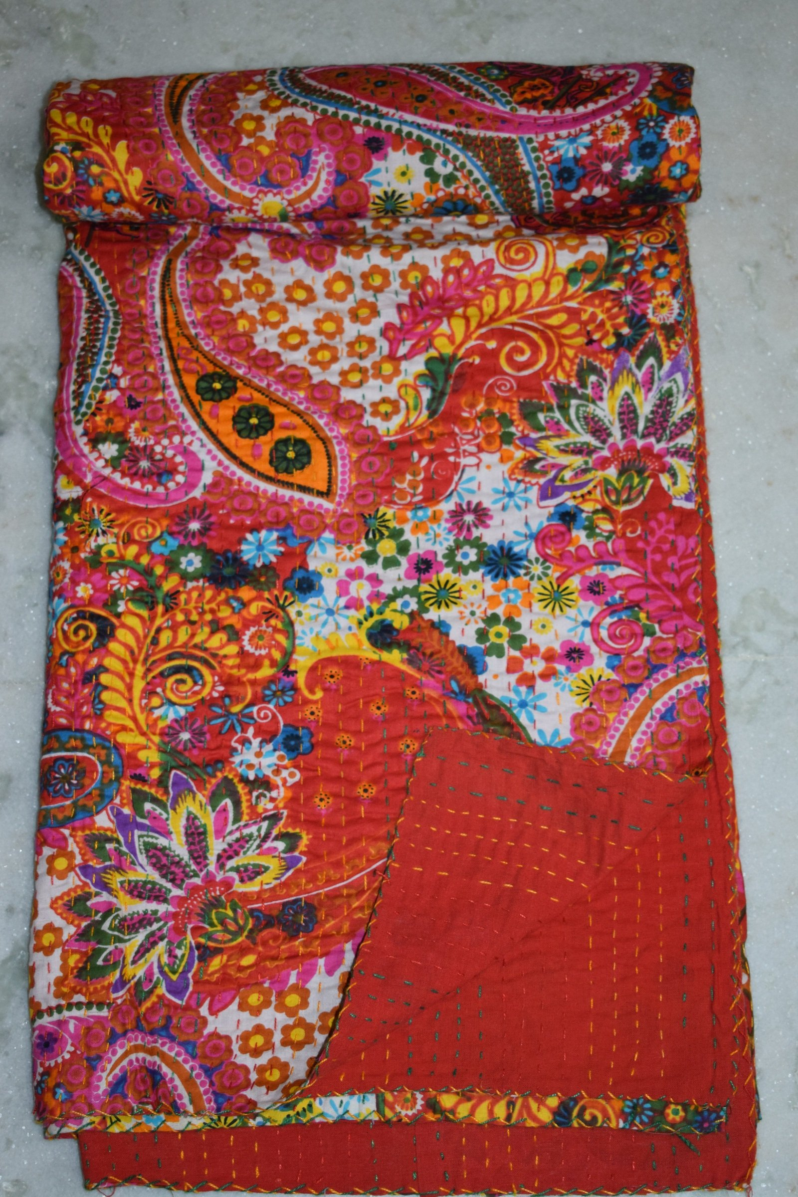 Tribal Asian Textiles Traditioanl India Cotton Twin Blanket, Kantha Reversible Quilt , Wedding Kantha Quilt Vintage Kantha Throw Bedroom Beddiing Floral Gudri Ralli Bedspreads Kantha Quilt