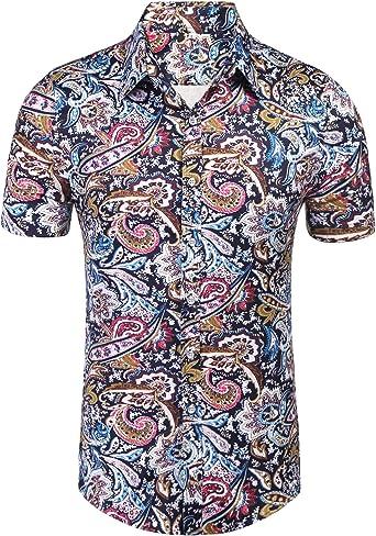 Daupanzees Men's Paisley Cotton Short Sleeve Casual Button Down Shirt