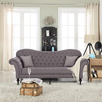 Classic Chesterfield Tufted Linen Fabric Victorian Sofa With Scroll Arms  (Dark Grey)