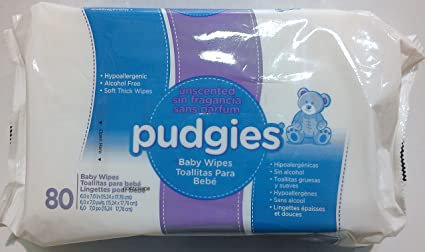 Nice Pak Pudgies UnScented Baby Wipe - 80 per pack