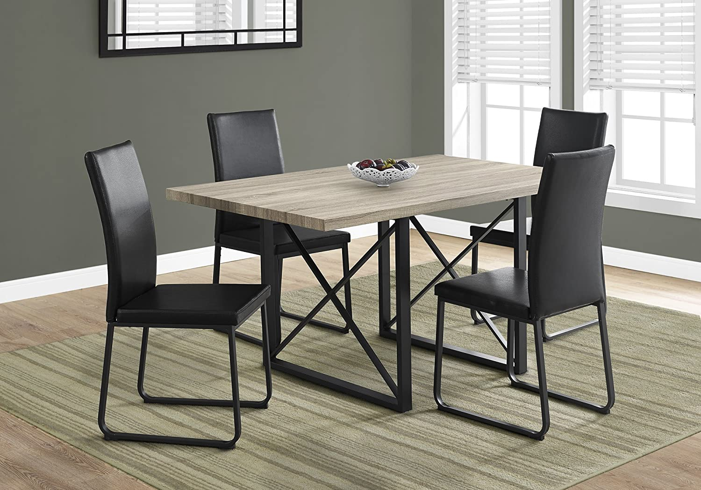 "Monarch Specialties Dining Table - 7""X 7""/Dark Taupe/Black Metal, Brown"
