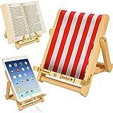 Wooden Bookholder Recipe Book Phone Holder eReader iPad Tablet Stand Rest Gift Idea (Stripy Red (Deckchair))