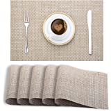 Smile Mom PVC Placemats/Mat for Dining Table Kitchen (Set of 6 Piece). Washable, Waterproof, Plastic (45 X 30 cm, Light Beige Weave)