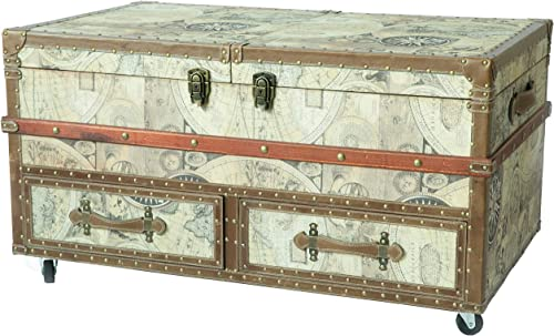 Vintiquewise Old World Map Print Coffee End Table and Wine Bar Trunk