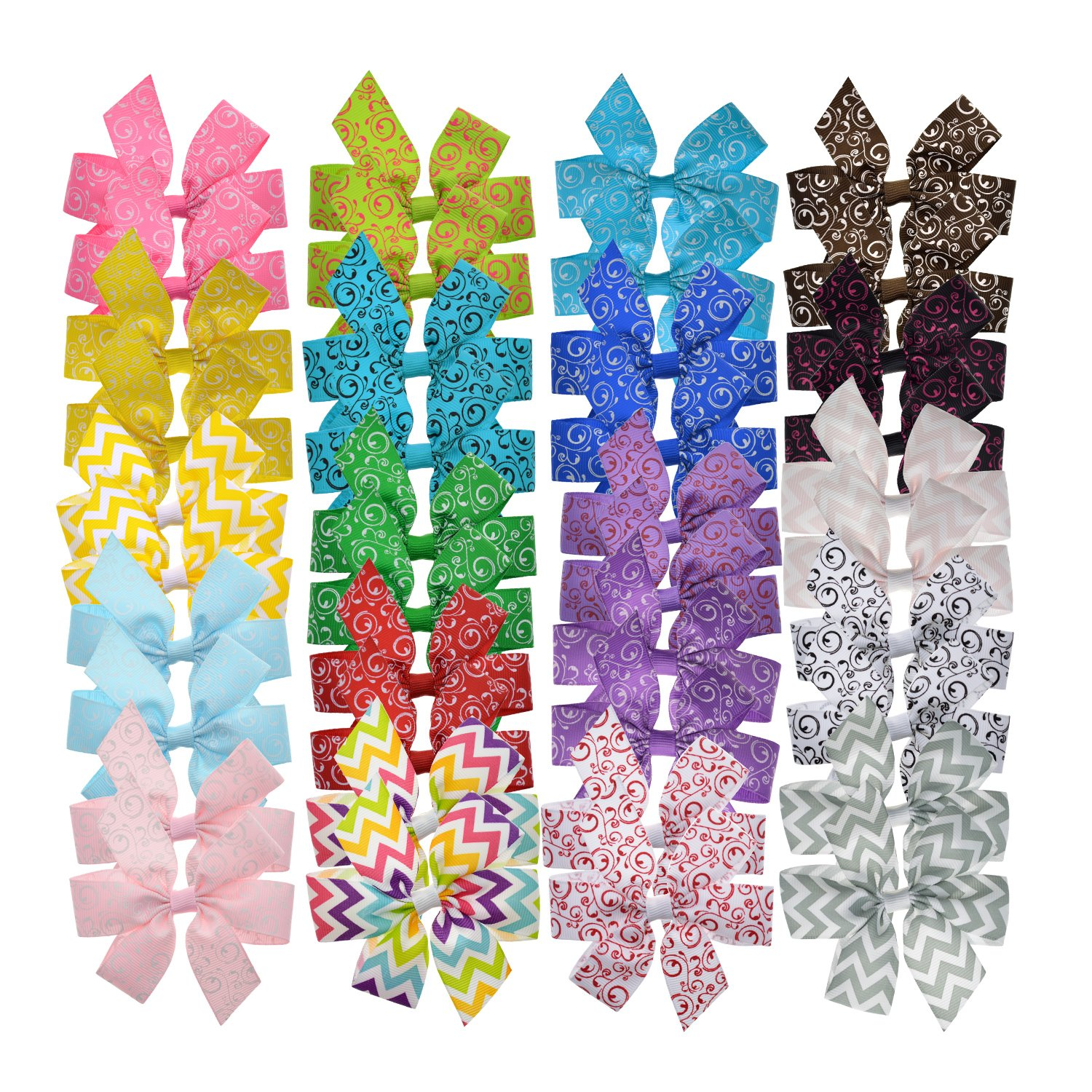 Lclhb 20pcs 3.5-4'' Baby Children Grosgrain Ribbon Big Hair Bows Hair Clips with Clip Hw07 (HW0703)