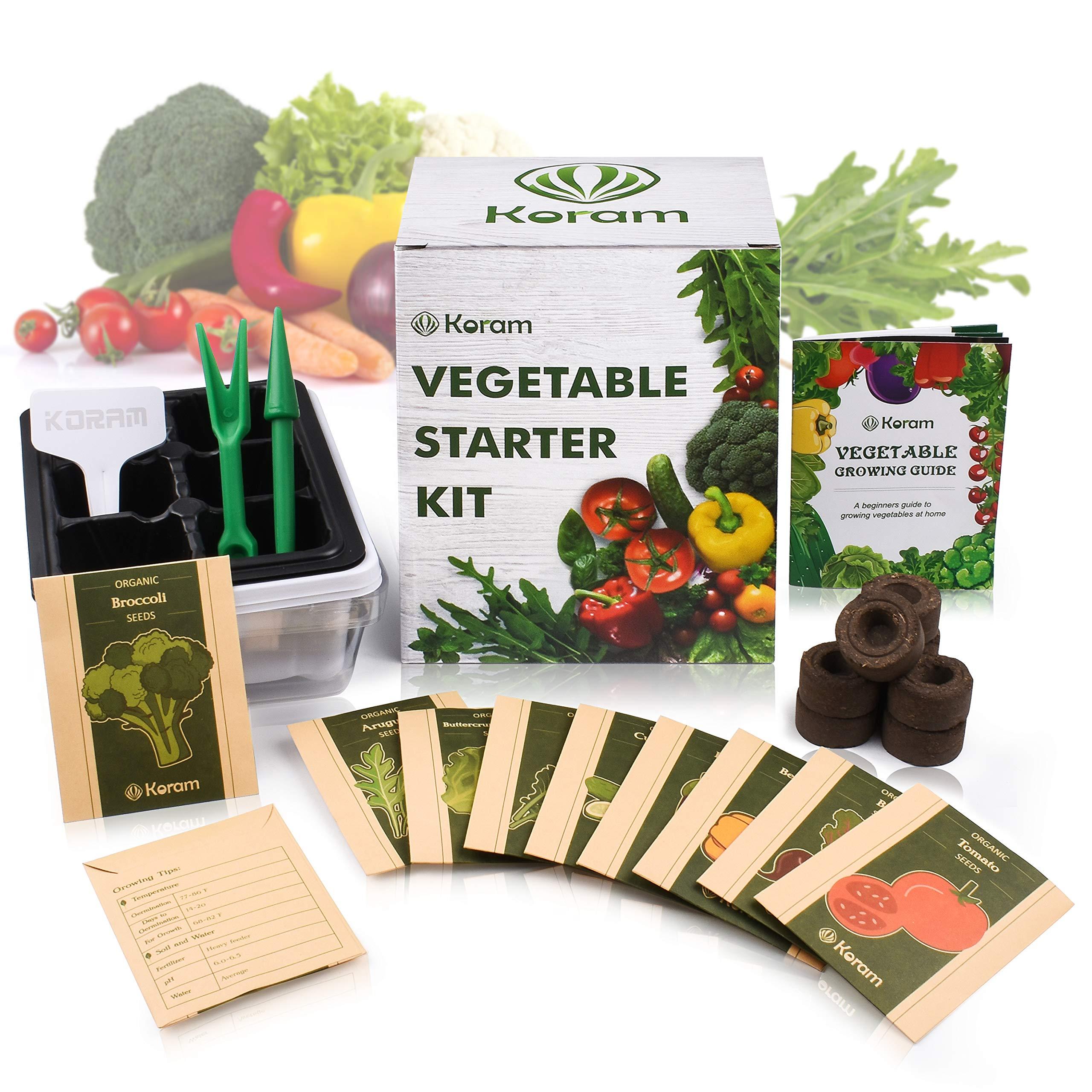 KORAM Vegetable Garden Starter Kit - 10 Organic Salad Seeds Organic Growing Kit DIY Gardening Starter Set with Everything a Gardener Needs for Growing Tomatoes Peppers Broccoli Cucumber Beets Kale by KORAM