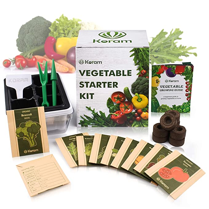 KORAM Vegetable Garden Starter Kit - 10 Organic Salad Seeds Organic Growing Kit DIY Gardening Starter Set with Everything a Gardener Needs for Growing Tomatoes Peppers Broccoli Cucumber Beets Kale best gardening gifts