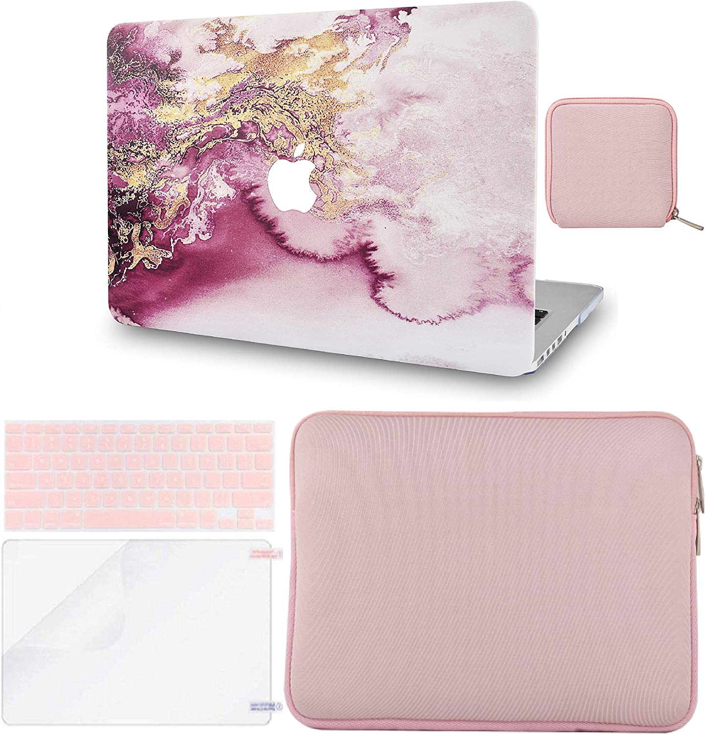 """LuvCase 5in1 LaptopCase forOld MacBook Pro 13"""" Retina Display (2012-2015) A1502/A1425 HardShell Cover, Slim Sleeve, Pouch, Keyboard Cover & Screen Protector (Red Gold Marble)"""