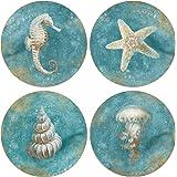 "CoasterStone AS10181 ""Treasures of the Sea"" Absorbent Coasters (Set of 4), 4-1/4"", Multicolor"