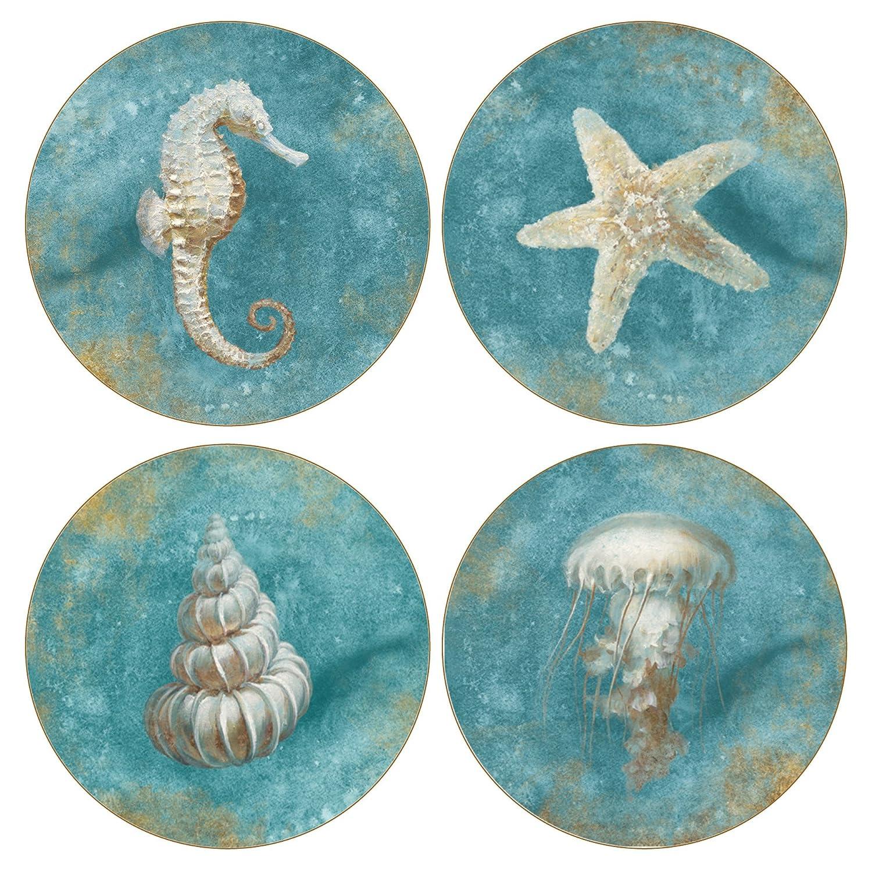 CoasterStone AS10181'Treasures of the Sea' Absorbent Coasters (Set of 4), 4-1/4', Multicolor 4-1/4