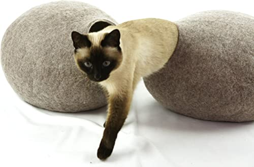 Kivikis Cat Bed, House, Cave, Nap Cocoon, Igloo, 100 Handmade from Sheep Wool XL 17-26 pounds cat, Dark Gray L for 6-8 kg,12-18 pounds cat, Sand Brown