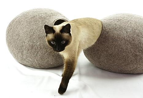 kivikis gato hogar//cama cueva, hecha a mano de naturales, lana ecológica