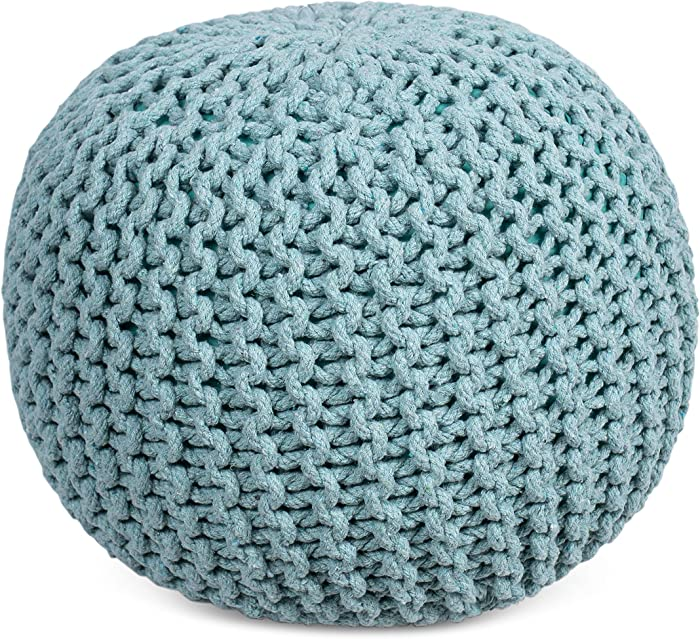 BIRDROCK HOME Round Pouf Foot Stool Ottoman - Knit Bean Bag Floor Chair - Cotton Braided Cord - Great for The Living Room, Bedroom and Kids Room - Small Furniture (Sage Green)
