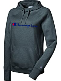 Champion Women's Powerblend Fleece Pullover Hoodie Sweater, Granite Heather, L
