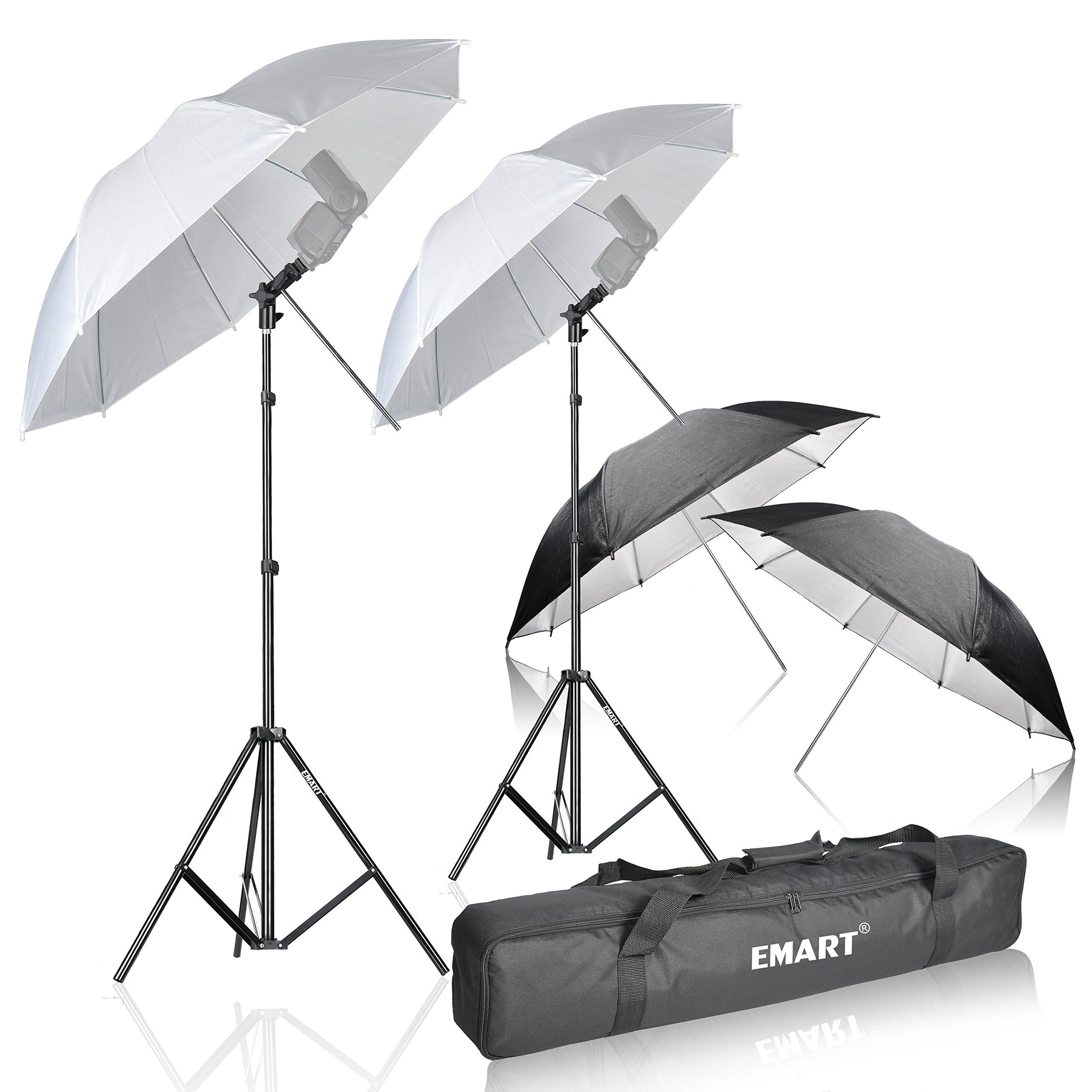 Emart Photo Studio Double Off Camera Speedlight Flash Umbrella Kit, Shoemount E-Type Brackets for Photography by EMART