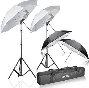 Emart Photo Studio Double Off Camera Speedlight Flash Umbrella Kit, Shoemount E-Type Brackets for Photography