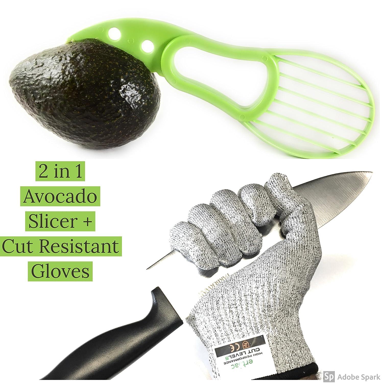 耐カット手袋+ 3-n-1 Avocado Slicer、レベル5カット保護、マルチ使用 M グレー VCCRGASM B079QY8KGS M