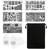Hotop 5 Pieces Nail Art Stamp Stamping Plates and 2 Pack of Nail Art Polish Clear Stamper Scraper, Nail Templates Stamper Scraper Kit