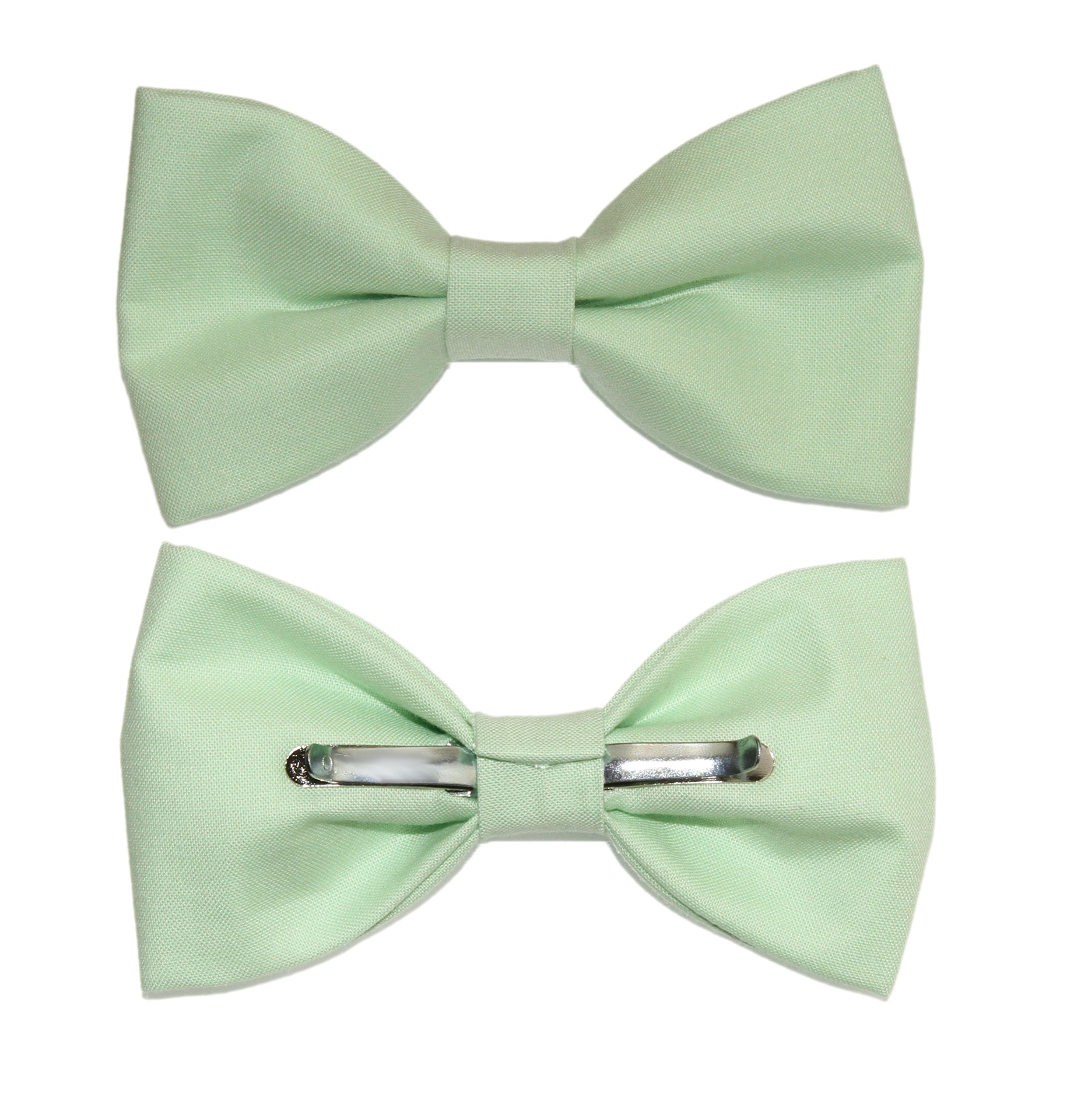amy2004marie Men's Mint Green Clip On Cotton Bow Tie - Made In The USA